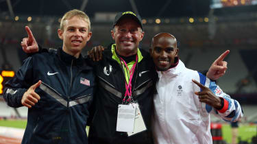 Britain's Mo Farah (right) with former coach Alberto Salazar (centre) and US athlete Galen Rupp (left)