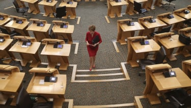 EDINBURGH, SCOTLAND - AUGUST 26:First Minister Nicola Sturgeon attends First Ministers Questions at the Scottish Parliament Holyrood on August 26, 2020 in Edinburgh, Scotland. (Photo by Frase