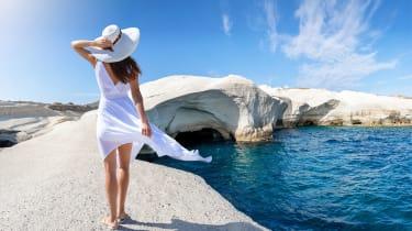 Woman walking on the island of Milos