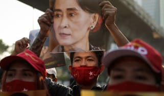 Protestors gather outside the Myanmar embassy in Bangkok, Thailand