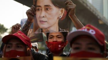 Protestors gather outside the Myanmar embassy in Bangkok, Thailand
