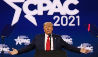 Donald Trump addresses the 2021 Conservative Political Action Conference at the Hyatt Regency Orlando hotel in Florida
