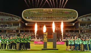 Southern Brave men's team and Oval Invincibles women's team celebrate at Lord's