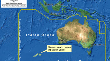 The search zone, in which it is believed flight MH370 crashed