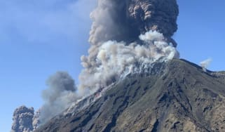 Smoke billows from the volcano on Stromboli on Wednesday