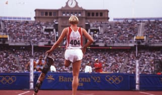 A competitor at the 1992 Summer Paralympics in Barcelona