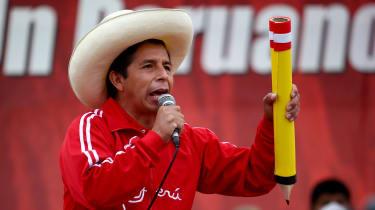 Pedro Castillo during a campaign rally in Lima