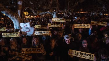 Thousands protest the detention of former Catalan government lawmakers