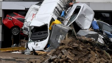 Major damage caused by extreme flooding in Bad Neuenahr-Ahrweiler, western Germany,