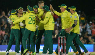 South Africa celebrate their one-run victory over England in the T20 in East London