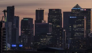Skyline of the Canary Wharf financial district in London