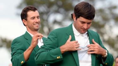 Adam Scott presents Bubba Watson with his second Green Jacket