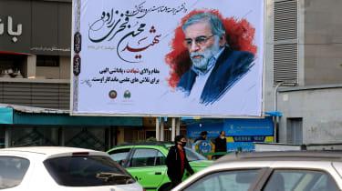 A billboard in honour of slain nuclear scientist Mohsen Fakhrizadeh in Tehran