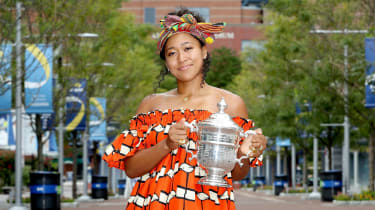 Japanese tennis star Naomi Osaka poses with the US Open trophy