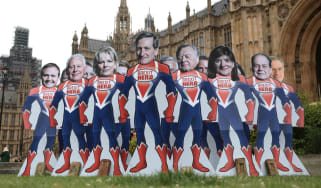 Cardboard cutouts of Tory Brexit rebels outside parliament last month