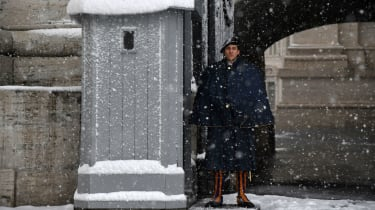 Swiss Guard Vatican City snow