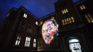 Dated: 11/01/2017An image of Martin Luther King Jr projected on to Newcastle University's Student Union to mark the start of Freedom City 2017, a year-long city-wide programme of diverse, tho