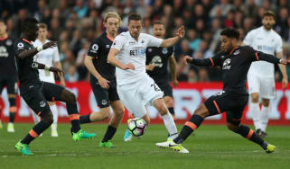 Gylfi Sigurdsson in action for Swansea against new club Everton