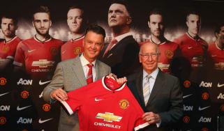 Louis van Gaal is unveiled as the new Man United coach by Sir Bobby Charlton