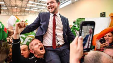 Sinn Fein's Donnchadh Ó Laoghaire celebrates election success