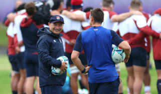 England head coach Eddie Jones oversees a training session in Fuchu, Tokyo