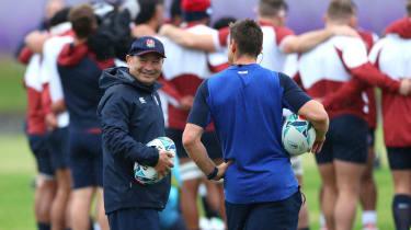 England head coach Eddie Jones oversees a training session in Fuchu, Tokyo