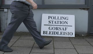 A polling station in Wales