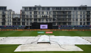 The scene at the Bristol County Ground as the Cricket World Cup clash between Bangladesh and Sri Lanka was abandoned