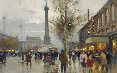Oil painting of a city street scene