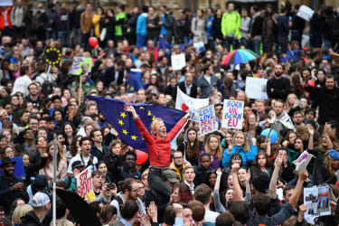LONDON, ENGLAND - JUNE 28: Protesters demonstrate against the EU referendum result outside the Houses of Parliament on June 28, 2016 in London, England. Up to 50,000 people were expected befo