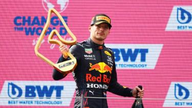 Max Verstappen celebrates his win at the F1 Austrian Grand Prix