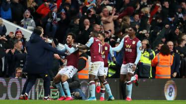 Aston Villa's Mahmoud Trezeguet celebrates his late winner against Leicester City