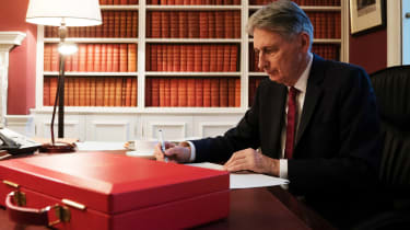 Chancellor Philip Hammond puts the finishing touches on his budget speech.