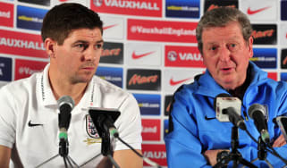 England captain Steven Gerrard alongside Roy Hodgson