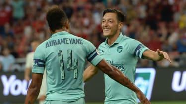 Arsenal striker Pierre-Emerick Aubameyang and midfielder Mesut Ozil