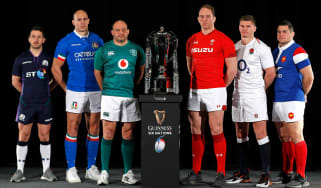 The 2019 Six Nations championship captains line up with the trophy