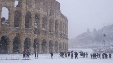 Rome snow Colosseum
