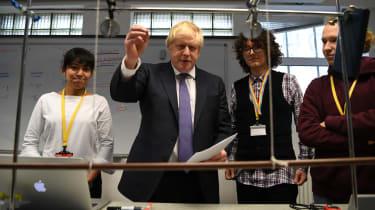 Boris Johnson meets students at King's College London University in 2020