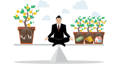 Rebalancing portfolio asset allocation. Business concept