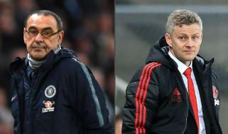 Chelsea manager Maurizio Sarri and Man Utd caretaker Ole Gunnar Solskjaer