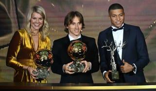 Women's Ballon d'Or winner Ada Hegerberg, men's winner Luka Modric and Kopa Trophy winner Kylian Mbappe