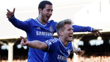 Hazard and Schurrle celebrate