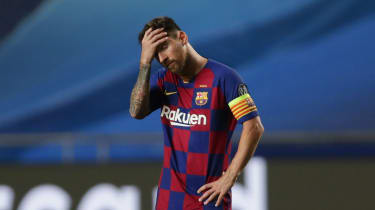 Lionel Messi looks dejected after Barcelona's 8-2 hammering by Bayern Munich in the Champions League