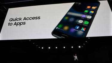 Vice President and Head of Mobile Products at Samsung Electronics America, Justin Denison speaks during a press conference to present South Korean multinational conglomerate corporation Samsu