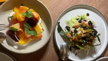 Dorset crab tostada and beetroot served with cumin, yoghurt and orange
