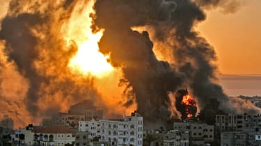 Smoke rises over Gaza following an Israeli airstrike