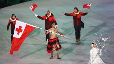 Tonga flag bearer Pita Taufatofua PyeongChang 2018 Winter Olympics