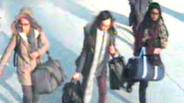Three British schoolgirls at Gatwick Airport