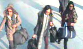 Three British schoolgirls at Gatwick Airport