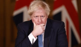 Boris Johnson speaks during a virtual press conference at No.10